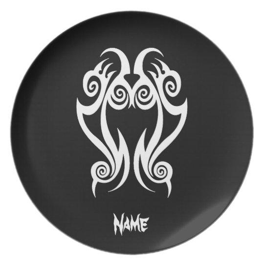 Cool Simple Elegant Classic Black White Tribal Plate