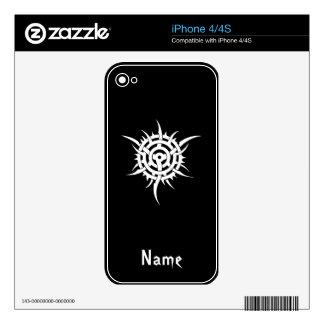 Cool Simple Elegant Classic Black White Tribal Skin For iPhone 4S