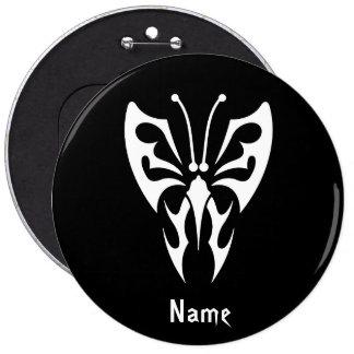 Cool Simple Elegant Classic Black White Tribal tat Pin