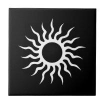 Cool Simple Elegant Classic Black White Tribal Tile