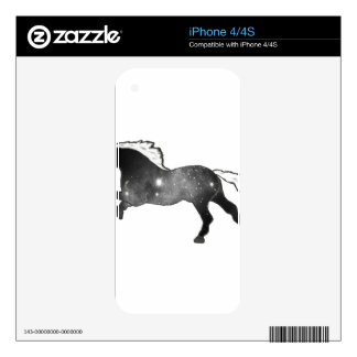 Cool Simple Horse Black and White Nebula Galaxy Decals For iPhone 4S