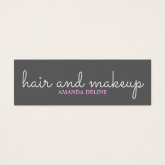 Cool Simple Stylish Grey Pink Beauty Hair Makeup Mini Business Card