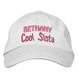 COOL SISTER Custom Name WHITE A07 Embroidered Baseball Caps