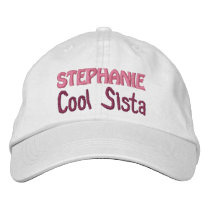 COOL SISTER Custom Name WHITE A07A Embroidered Baseball Cap