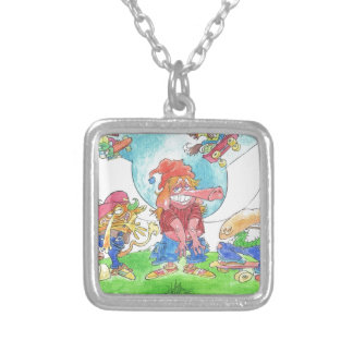 Cool skateboarding animal cartoon caharacters. silver plated necklace