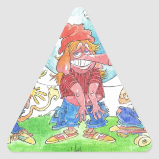 Cool skateboarding animal cartoon caharacters. triangle sticker