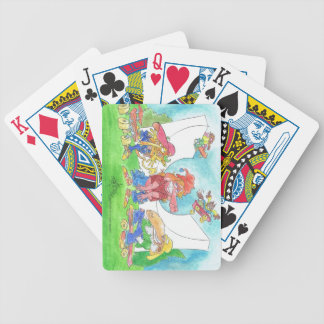 Cool skateboarding animal cartoon characters. bicycle playing cards
