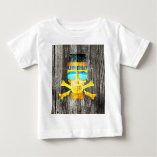 Cool Skull glasses hat wood grey background effect Baby T-Shirt