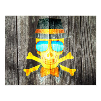 Cool Skull glasses hat wood grey background effect Postcard