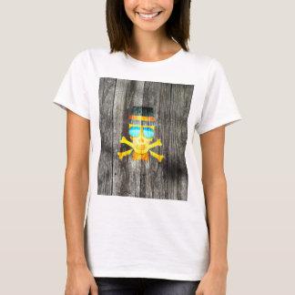 Cool Skull glasses hat wood grey background effect T-Shirt