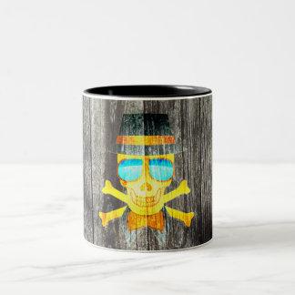 Cool Skull glasses hat wood grey background effect Two-Tone Coffee Mug