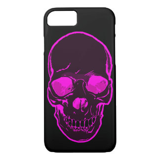 Cool Skull Purple Silhouette on Black Background iPhone 7 Case