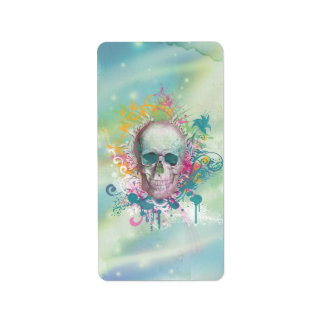cool skull splatters swirls vintage floral frame address label