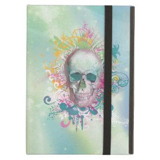 cool skull splatters swirls vintage floral frame iPad case
