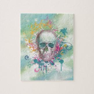 cool skull splatters swirls vintage floral frame jigsaw puzzles