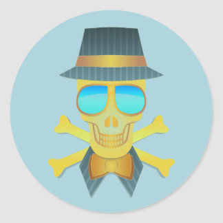 Cool Skull With Hat & Sunglasses, Glossy Stickers
