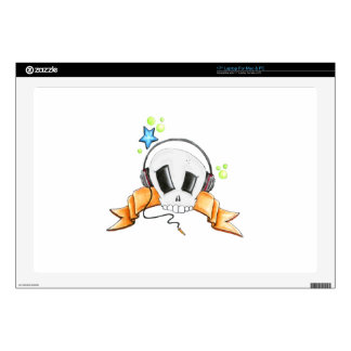 "Cool Skull with Headphones 17"" Laptop Skin"