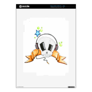 Cool Skull with Headphones iPad 2 Decal