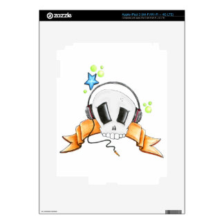 Cool Skull with Headphones iPad 3 Decals