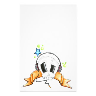 Cool Skull with Headphones Stationery