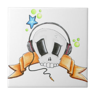 Cool Skull with Headphones Tile