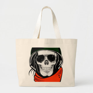cool skull with sunglasses and helmet bag