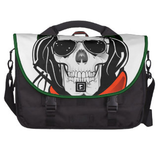 cool skull with sunglasses and helmet laptop bag