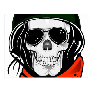 cool skull with sunglasses and helmet postcard