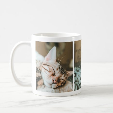 Cool Sleepy Kitty Cat Lovers' Photo Collage Mug