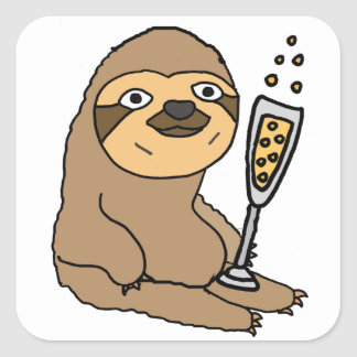 Cool Sloth Drinking Champagne Cartoon Square Sticker