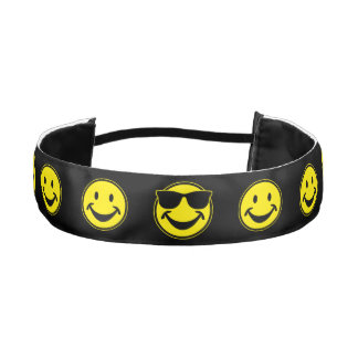 Cool Smiley yellow + your backg. & ideas Athletic Headbands
