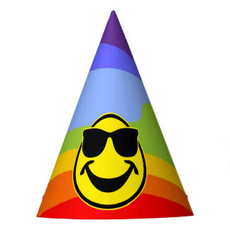 Cool Smiley yellow + your backg. & ideas Party Hat