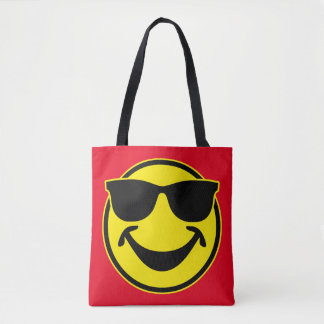 Cool Smiley yellow + your backg. & ideas Tote Bag