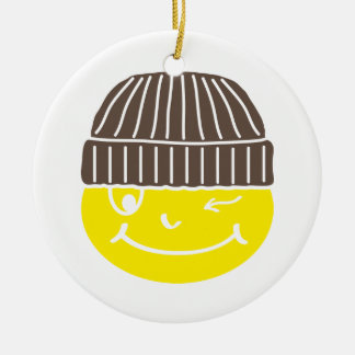 Cool Smilie with cap Ornament