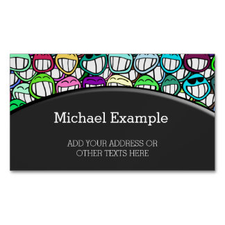 COOL SMILING FACES GROUP II + your idea Magnetic Business Card
