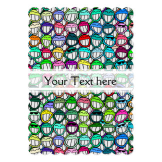 COOL SMILING FACES GROUP + your text 5x7 Paper Invitation Card