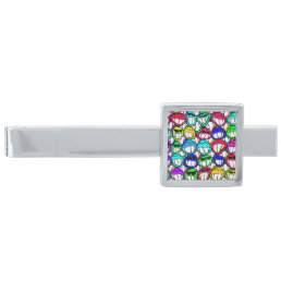 Cool Smiling Faces Pattern + your idea Silver Finish Tie Clip