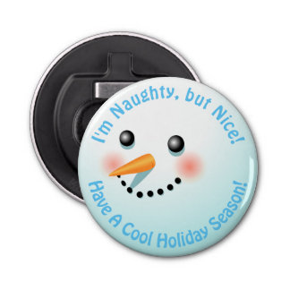 Cool Smiling Snowman With Rosy Cheeks Bottle Opener