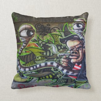 Cool Smoking Guy Watched By Snake Eyes Throw Pillow