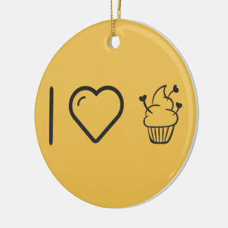 Cool Smooth Cupcakes Double-Sided Ceramic Round Christmas Ornament