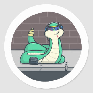 Cool Snake Classic Round Sticker
