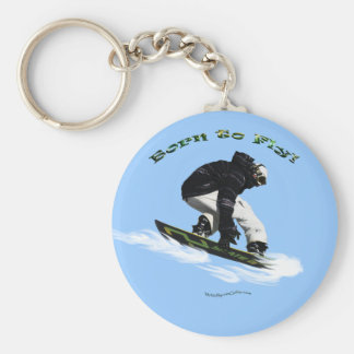 Cool Snow Boarder Winter Sports Theme Basic Round Button Keychain