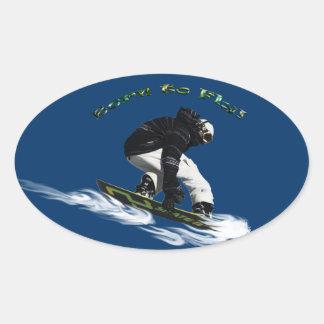 Cool Snow Boarder Winter Sports Theme Oval Sticker
