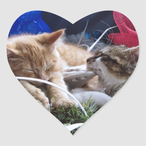 Cool Snow Cats, Two Kittens in Love, Winter Skates Heart Sticker
