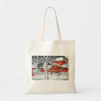 Cool snow in iwashimizu hachiman shrine kyoto tote bag