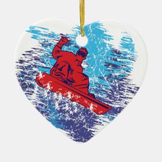 Cool Snowboarder Ceramic Ornament