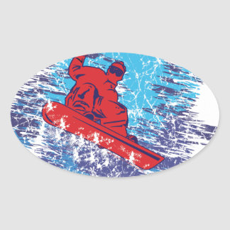 Cool Snowboarder Oval Sticker