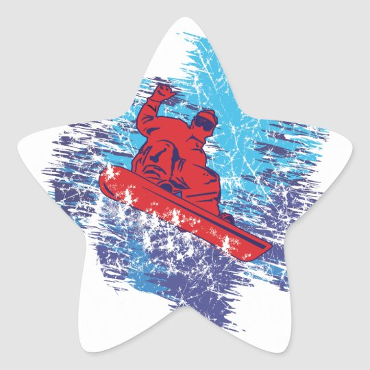 Cool Snowboarder Star Sticker