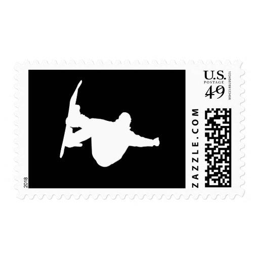 Cool snowboarding postage stamp