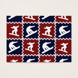 Cool Snowboarding Red Blue Square Pattern Business Card
